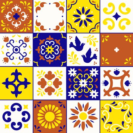 Mexican talavera pattern. Ceramic tiles with flower, leaves and bird ornaments in traditional style from Puebla. Mexico floral mosaic in blue, terracotta, yellow and white. Folk art design.  イラスト・ベクター素材