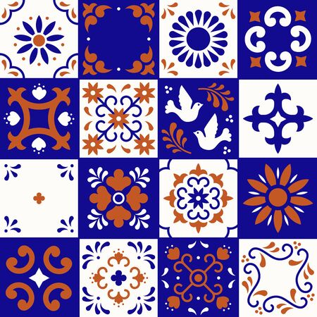Mexican talavera pattern. Ceramic tiles with flower, leaves and bird ornaments in traditional style from Puebla. Mexico floral mosaic in ultramarine, terracotta and white. Folk art design Фото со стока - 129095201