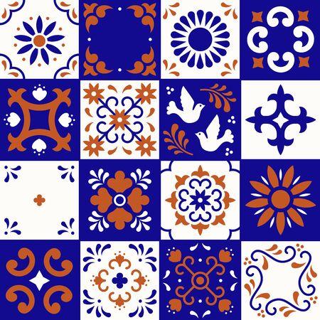 Patrón de talavera mexicana. Azulejos de cerámica con adornos de flores, hojas y pájaros en estilo tradicional puebla. Mosaico floral de México en ultramar, terracota y blanco. Diseño de arte popular