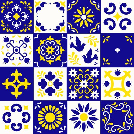 Mexican talavera pattern. Ceramic tiles with flower, leaves and bird ornaments in traditional style from Puebla. Mexico floral mosaic in blue, yellow and white. Folk art design Фото со стока - 129095197