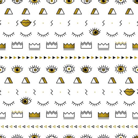 Golden eyes pattern with lips, crown, lightning and geometric shapes in memphis style. Fashion background in 80s. Minimal design. Closed and open eyes in gold. Triangle, zigzag. Line art
