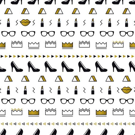 Golden fashion accessories pattern with black high heel shoes, lips, lipstick, gold crown, sunglasses in memphis style. Minimal design. Beauty background for fashionable girls in 80s. Line art