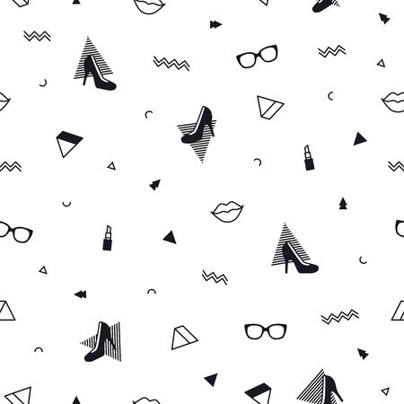 Fashion accessories pattern with black high heel shoes, lips, lipstick, sunglasses and geometric shapes in memphis style. Minimal design. Beauty background for fashionable girls in 80s. Line art