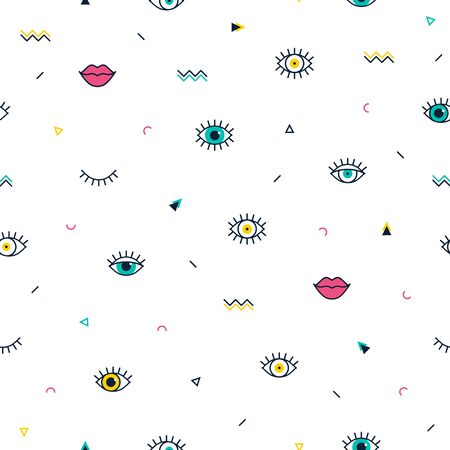 Green eyes pattern with pink lips and geometric shapes in memphis style. Fashion background in 90s 80s. Closed and open eyes. Minimal design. Triangle, zigzag and other graphic elements. Line art  イラスト・ベクター素材
