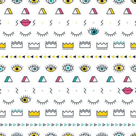 Green eyes pattern with lips, crown, lightning and geometric shapes in memphis style. Fashion background in 80s. Closed and open eyes. Minimal design. Triangle, zigzag and graphic elements. Line art