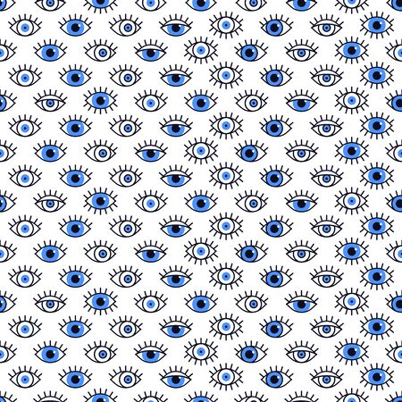 Blue eyes pattern in line style. Fashion background in 80s. Minimal design. Various open eyes. Line art  イラスト・ベクター素材