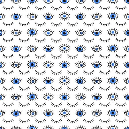 Blue eyes pattern in line style. Fashion background in 80s. Minimal design. Various closed and open eyes. Line art
