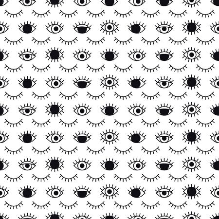 Eyes pattern in line style. Fashion background in 80s. Minimal design. Various closed and open eyes. Line art