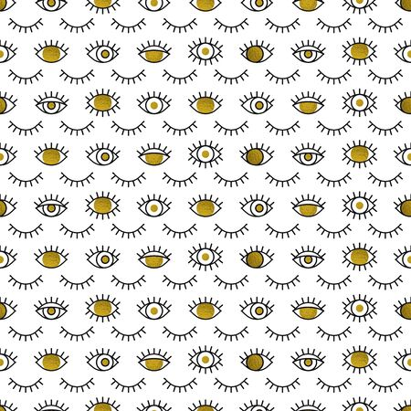 Golden eyes pattern in line style. Fashion background in 80s. Minimal design. Various closed and open in gold. Line art