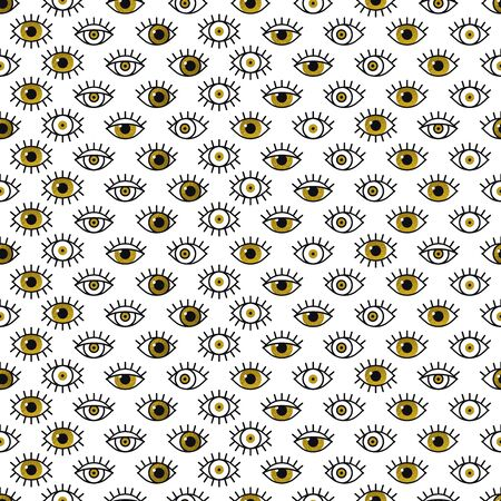 Golden eyes pattern in line style. Fashion background in 80s. Minimal design. Various open eyes in gold. Line art  イラスト・ベクター素材