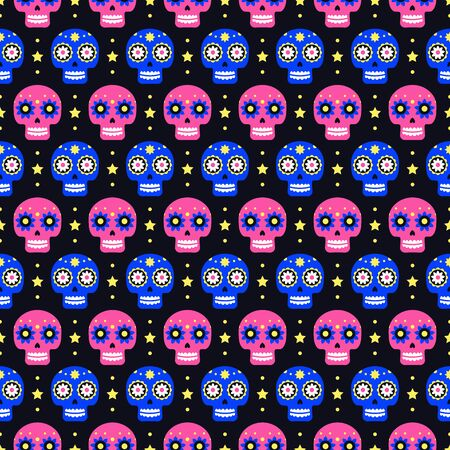 Day of the dead seamless pattern with colorful skulls on dark background. Traditional mexican Halloween design for Dia De Los Muertos holiday party. Ornament from Mexico
