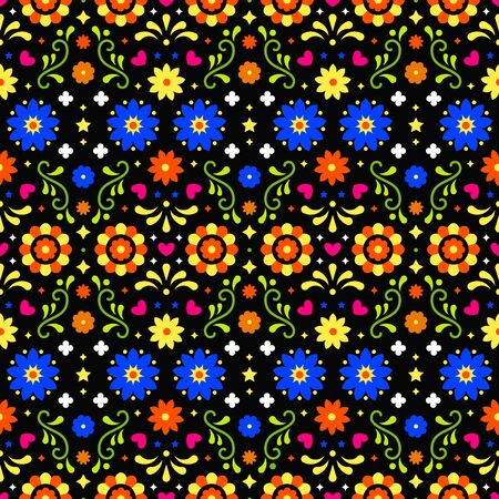 Mexican folk art seamless pattern with flowers on dark background. Traditional design for fiesta party. Colorful floral ornate elements from Mexico. Mexican folklore ornament