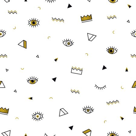 Golden eyes pattern with crown and geometric shapes in memphis style. Fashion background in 80s. Minimal design. Closed and open eyes in gold. Triangle, zigzag. Line art