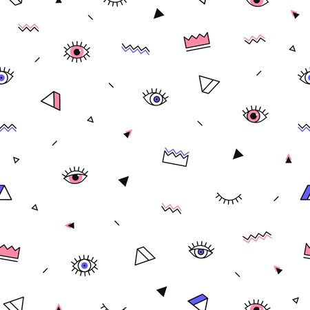 Eyes pattern with crown and geometric shapes in memphis style. Minimal design. Closed and open eyes. Triangle, zigzag and other graphic elements. Line art. Fashion background in 90s 80s