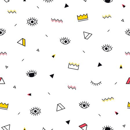 Eyes pattern with yellow crown and geometric shapes in memphis style. Minimal design. Closed and open eyes. Triangle, zigzag and other graphic elements. Line art. Fashion background in 90s 80s