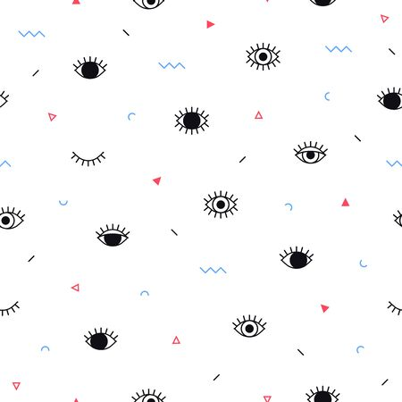 Eyes pattern with geometric shapes in memphis style. Minimal design. Closed and open eyes. Triangle, zigzag and other graphic elements. Line art. Fashion background in 90s 80s