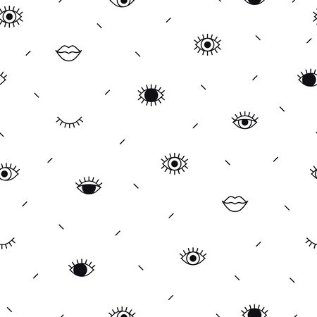 Eyes pattern with lips and geometric shapes in memphis style. Fashion background. Minimal design. Closed and open eyes. Line art  イラスト・ベクター素材