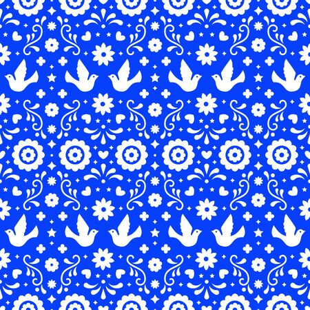 Mexican folk art seamless pattern with flowers, leaves and birds on blue background. Traditional design for fiesta party. Floral ornate elements from Mexico. Mexican folklore ornament  イラスト・ベクター素材