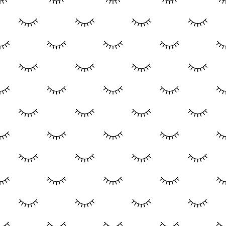 Closed eyes seamless pattern. Minimal design print. Vector background. Line art. Wrapping paper