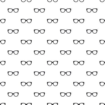 Black glasses eyes seamless pattern on white background. Eyeglasses. Vector illustration. Fashion background in minimal design  イラスト・ベクター素材