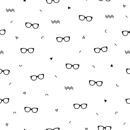 Glasses eyes seamless pattern on white background and geometric shapes in memphis style. Eyeglasses. Vector illustration. Fashion background in minimal design