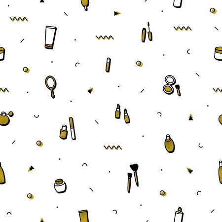 Makeup beauty care seamless pattern in memphis style. Fashion background. Beauty products: lipstick, mascara, perfume, eyeshadows. Cosmetics illustrations in minimal design