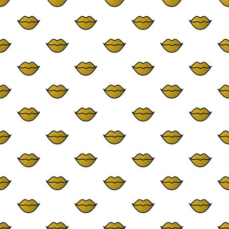 Gold lips seamless pattern on white background. Golden lipstick kiss. Vector illustration. Fashion background in minimal design
