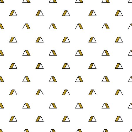 Gold triangles pattern on white background. Abstract seamless repeating pattern. Minimal design with golden glittering geometric shapes. Vector illustration  イラスト・ベクター素材