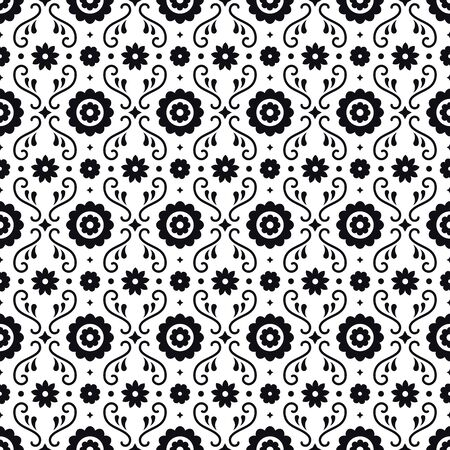 Mexican folk art seamless pattern with flowers on white background. Traditional design for fiesta party. Floral ornate elements from Mexico. Mexican folklore ornament