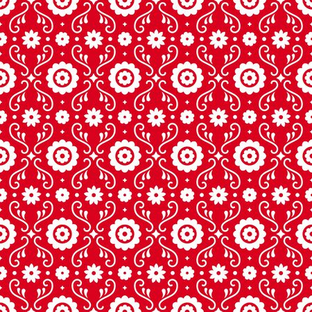 Mexican folk art seamless pattern with flowers on red background. Traditional design for fiesta party. Floral ornate elements from Mexico. Mexican folklore ornament