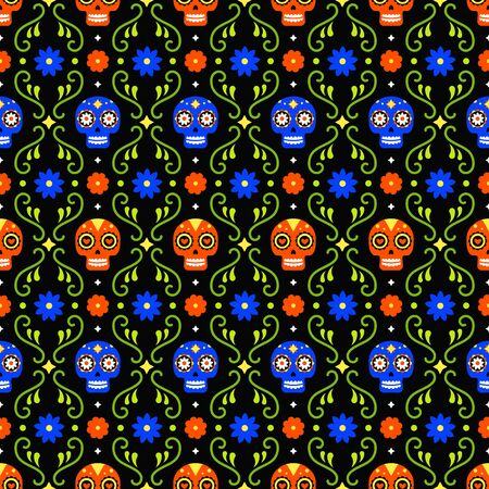Day of the dead seamless pattern with colorful skulls and flowers on dark background. Traditional mexican Halloween design for Dia De Los Muertos holiday party. Ornament from Mexico  イラスト・ベクター素材