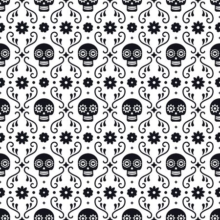 Day of the dead seamless pattern with skulls and flowers on white background. Traditional mexican Halloween design for Dia De Los Muertos holiday party. Ornament from Mexico