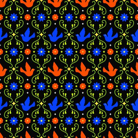 Mexican folk art seamless pattern with flowers, leaves and birds on dark background. Traditional design for fiesta party. Colorful floral ornate elements from Mexico. Mexican folklore ornament