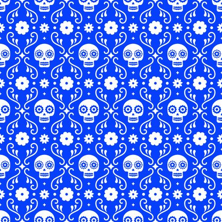 Day of the dead seamless pattern with skulls and flowers on blue background. Traditional mexican Halloween design for Dia De Los Muertos holiday party. Ornament from Mexico  イラスト・ベクター素材