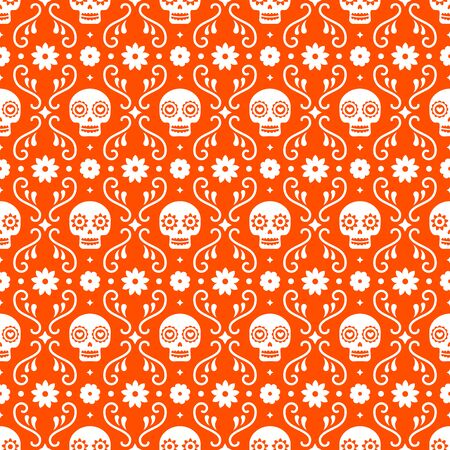 Day of the dead seamless pattern with skulls and flowers on red background. Traditional mexican Halloween design for Dia De Los Muertos holiday party. Ornament from Mexico  イラスト・ベクター素材