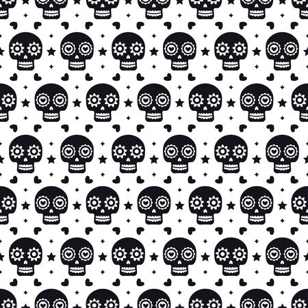 Day of the dead seamless pattern with skulls on white background. Traditional mexican Halloween design for Dia De Los Muertos holiday party. Ornament from Mexico