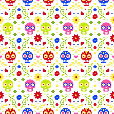 Day of the dead seamless pattern with colorful skulls and flowers on white background. Traditional mexican Halloween design for Dia De Los Muertos holiday party. Ornament from Mexico  イラスト・ベクター素材