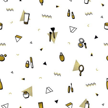 Fashion background. Gold cosmetics seamless pattern in memphis style. Premium golden beauty products: lipstick, mascara, perfume, eyeshadows. Makeup beauty care illustrations