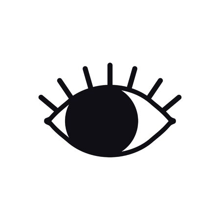 Open eye line icon on white background. Look, see, sight, view sign and symbol. Vector linear graphic element. Optical and search theme in minimal design style. Eye with eyelashes