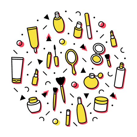 Beauty products concept theme. Cosmetics round print. Circle with lipstick, mascara, perfume, eyeshadows. Makeup and beauty care template for shops in memphis line style