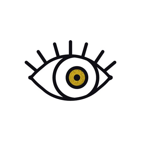 Open gold eye line icon on white background. Look, see, sight, view sign and symbol. Vector linear graphic element. Optical and search theme in minimal design style. Golden eye with eyelashes