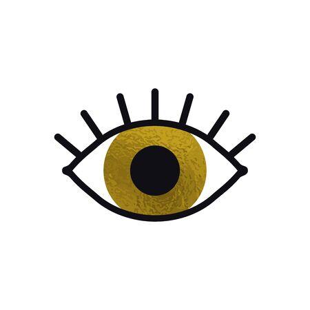 Öffnen Sie das goldene Augensymbol auf weißem Hintergrund. Schauen Sie, sehen Sie, sehen Sie, sehen Sie Zeichen und Symbol. Lineares grafisches Vektorelement. Optisches und Suchthema im minimalistischen Designstil. Goldenes Auge mit Wimpern