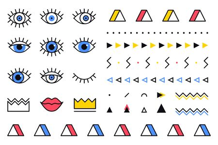 Trendy vector geometric shapes set in 80s style. Memphis graphic elements on white background for banner, poster or flyer. Set includes triangle, eyes, lips, crown, border in line design 向量圖像
