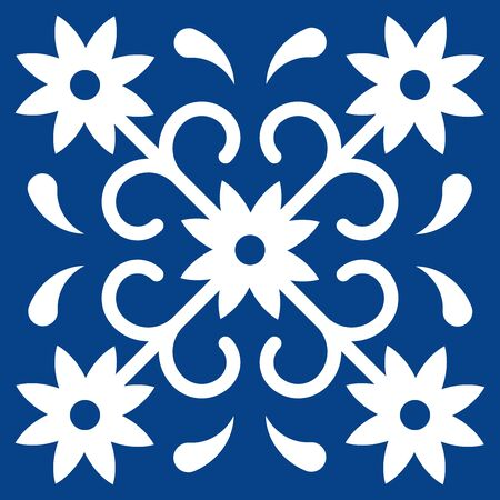 Mexican talavera tile pattern. Ornament in traditional style from Puebla in classic blue and white. Floral ceramic composition with flower, dot and leaves. Folk art design from Mexico