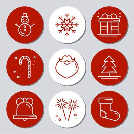 Christmas New Year icons gift round stickers. Labels xmas set. Hand drawn decorative element. Collection of holiday christmas stickers in black white. Vector illustration. Basic xmas winter elements 版權商用圖片