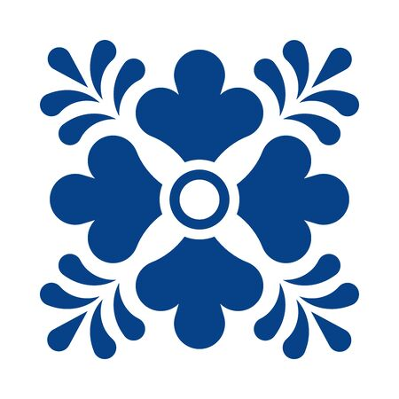 Mexican talavera tile pattern with flower. Ornament in traditional style from Puebla in classic blue and white. Floral ceramic composition with dot and leaves. Folk art design from Mexico