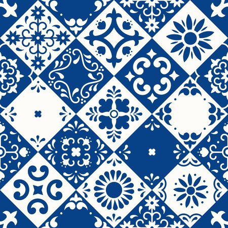 Mexican talavera seamless pattern. Ceramic tiles with flower, leaves and bird ornaments in traditional majolica style from Puebla. Mexico floral mosaic in classic blue and white. Folk art design