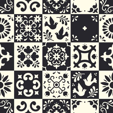 Mexican talavera seamless pattern. Ceramic tiles with flower, leaves and bird ornaments in traditional majolica style from Puebla. Mexico floral mosaic in classic black and white. Folk art design. 向量圖像