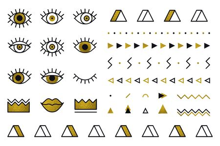 Geometric golden shapes set in 80s style. Memphis vector graphic elements on white background for tattoo stickers. Set includes triangle, eyes, lips, crown, border in line design. 向量圖像