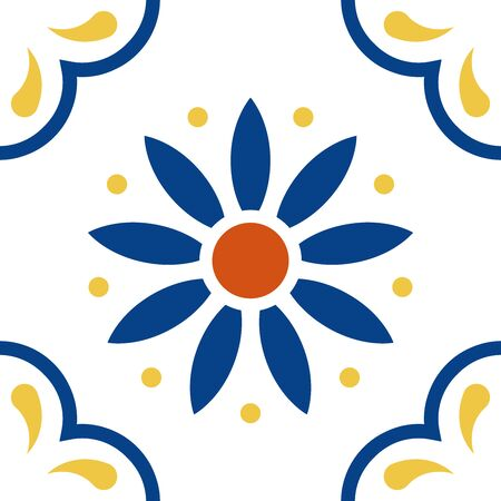 Mexican talavera tile pattern. Ornament in traditional style from Puebla on white background. Floral ceramic composition with flower, dot and leaves. Folk art design from Mexico.
